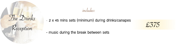 [image not loading] The Drinks Reception £375 - click for full details
